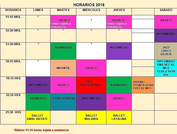 Horario 2018